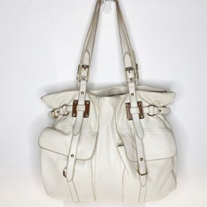 Elliott Lucca Cream Leather Shoulder Bag